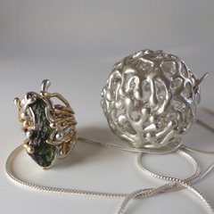 Moldavite ring and box pendant   by Vicky Forrester